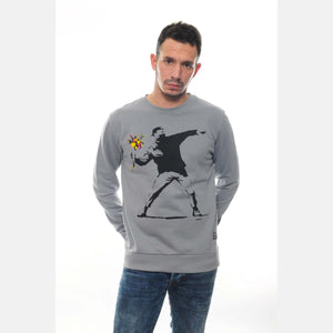 Grey The Flower Bomb Thrower by Banksy Printed Cotton Sweatshirt