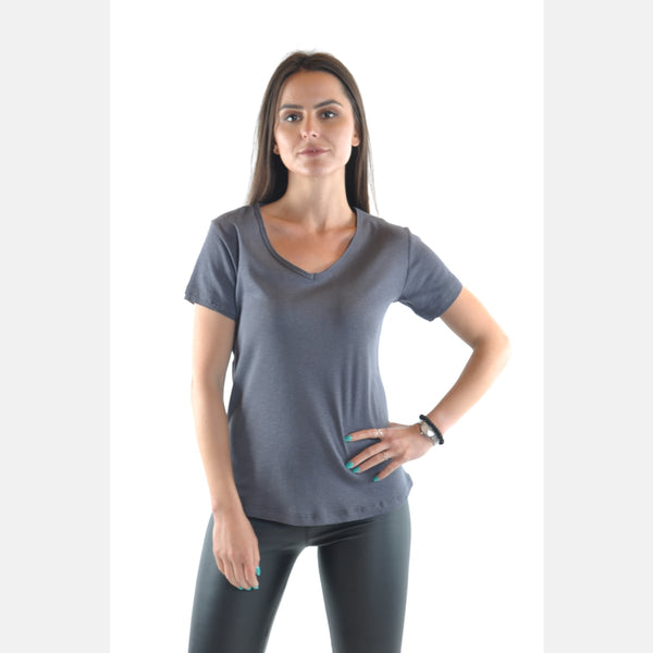 Grey V Neck Cotton Women T-Shirt Tee Top S-Ponder