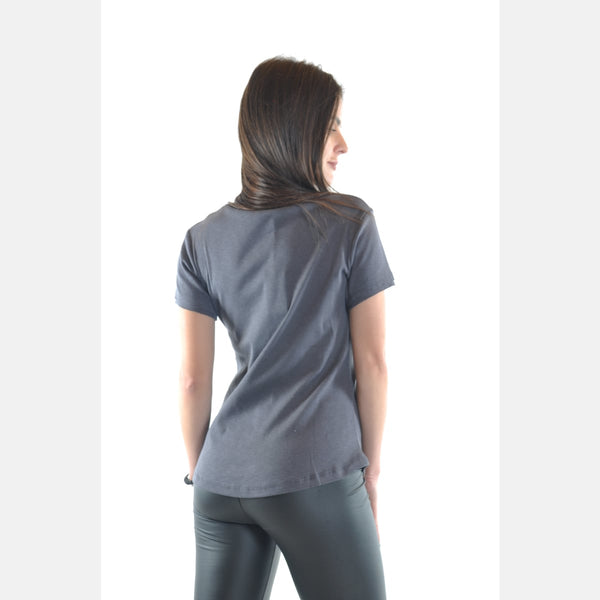 Grey V Neck Cotton Women T-Shirt - S-Ponder Shop - T-SHIRT