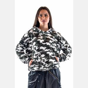 Light Camouflage Boyfriend Cut Cotton Hoodie S-Ponder