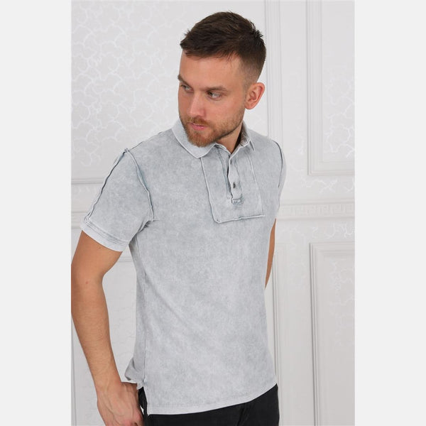 Light Grey Stone Washed Cotton Men's Polo T-Shirt - S-Ponder Shop