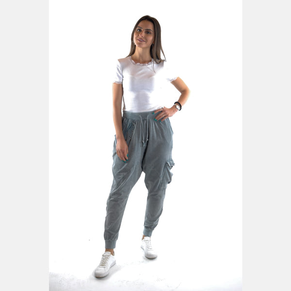 Light Grey Stone Washed Pocket Detail Cotton Bohemian Harem Pant Trousers Shalwar S-Ponder