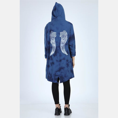 Navy Long Tie Die Angel Wings Print Cotton Cardigan with Hood S-Ponder