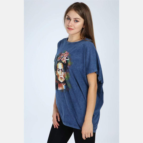 Navy Stone Washed Frida Kahlo Printed Cotton Women Top -