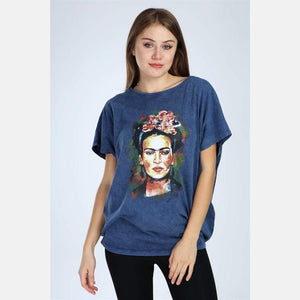 Navy Stone Washed Frida Kahlo Printed Cotton Women Top T-Shirt Blouse S-Ponder