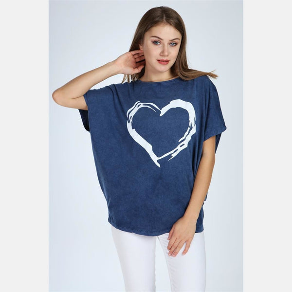 Navy Stone Washed Faded Heart Cotton Women Top Tee T-shirt Blouse