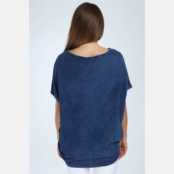 Navy Stone Washed Heart Cotton Women Top - S-Ponder Shop -