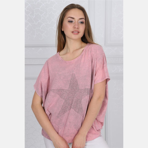 Pink Sparkle Star Cotton Women Balloon T-Shirt Tee Top Blouse S-Ponder