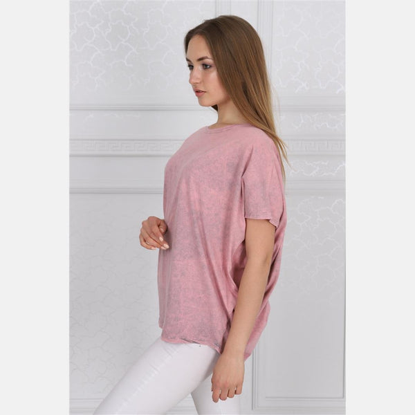 Pink Stone Washed Angel Wings Printed Cotton Women Balloon T-Shirt - S-Ponder Shop