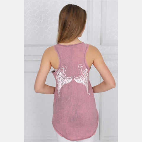 Pink Stone Washed Angel Wings Printed Cotton Women Vest Tank Top S-Ponder