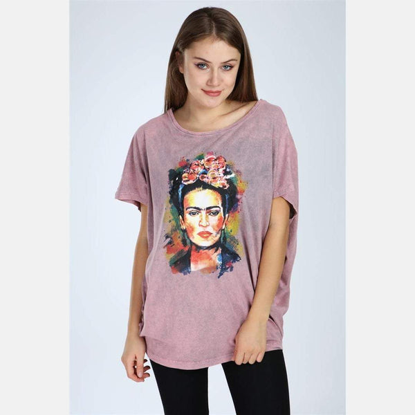 Pink Stone Washed Frida Kahlo Printed Cotton Women Top -