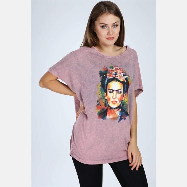 Pink Stone Washed Frida Kahlo Printed Cotton Women Top T-Shirt Blouse S-Ponder