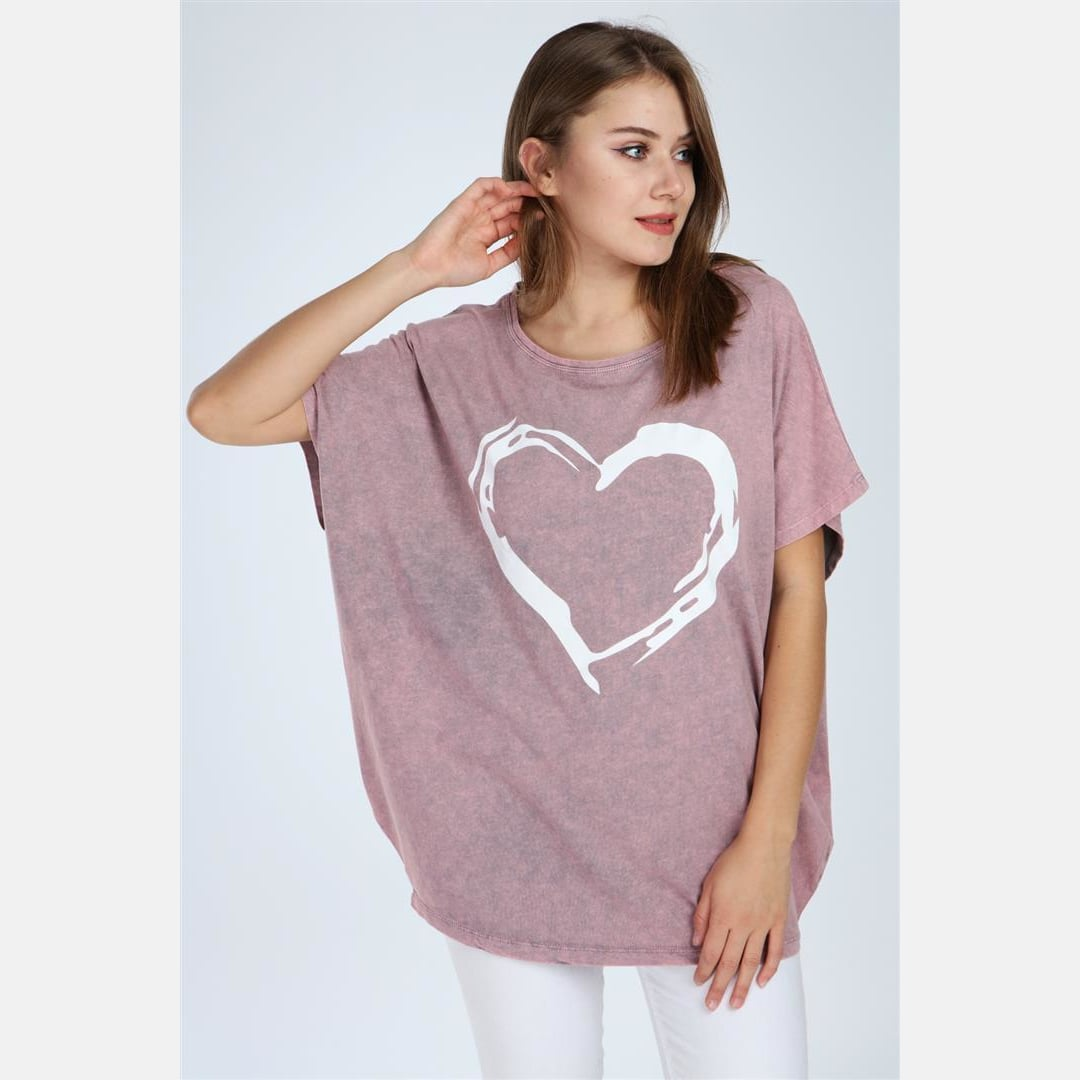 Pink Stone Washed Faded Heart Cotton Women Top Tee T-shirt Blouse