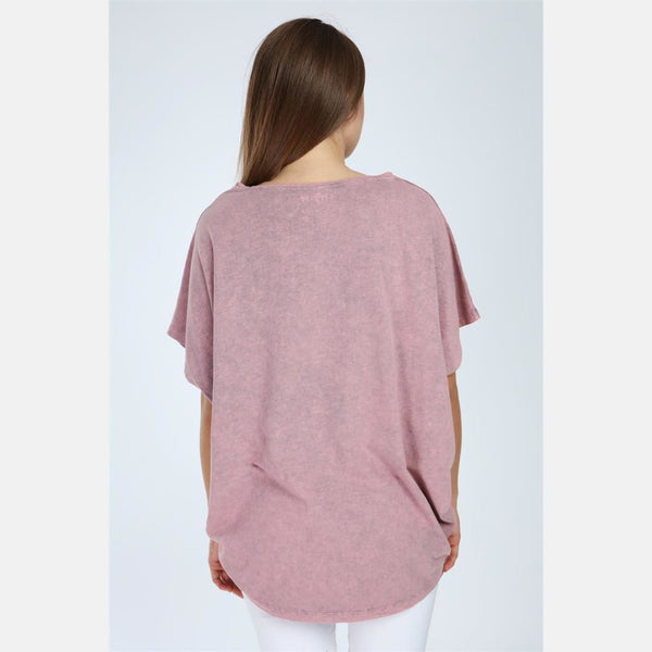 Pink Stone Washed Heart Cotton Women Top - S-Ponder Shop -