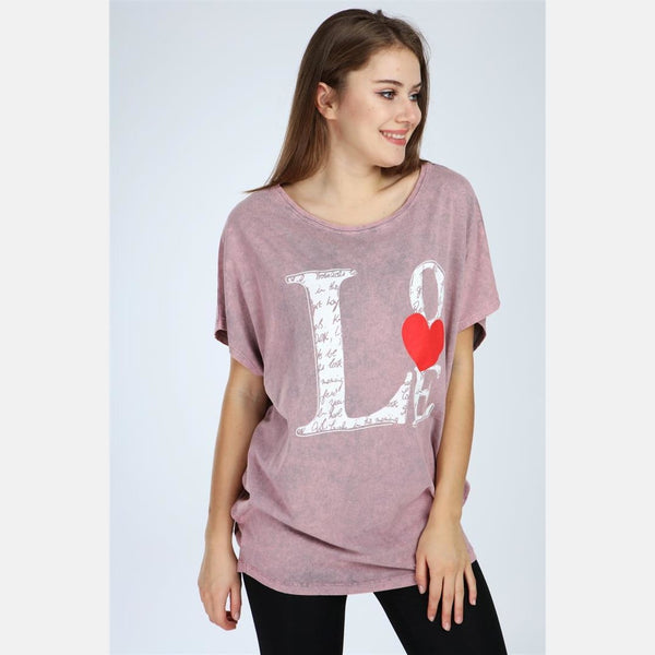 Pink Stone Washed Faded Love Cotton Women Top Tee T-Shirt Blouse S-Ponder