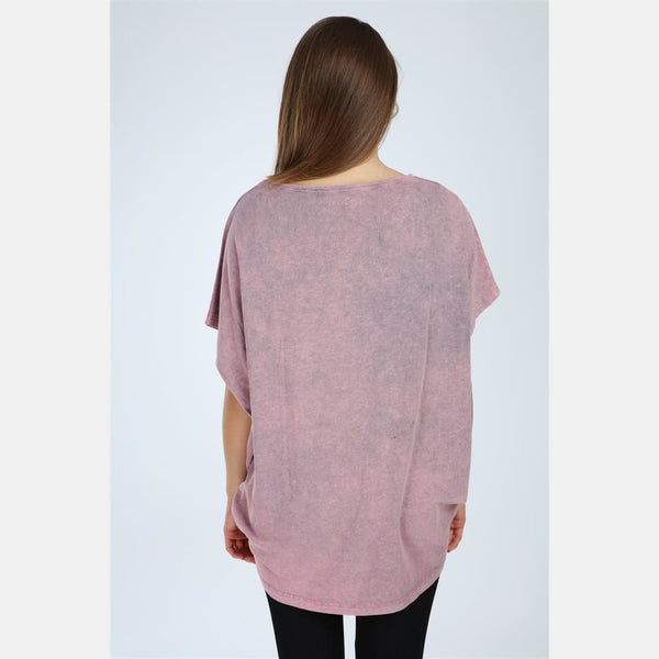 Pink Stone Washed Love Cotton Women Top - S-Ponder Shop -