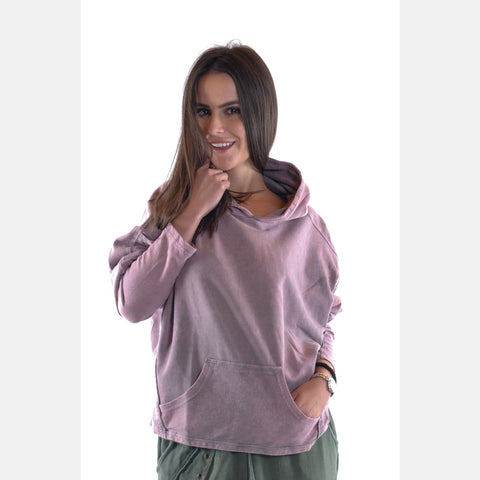 Pink Stone Washed Poncho Cut Cotton Women Hoodie S-Ponder