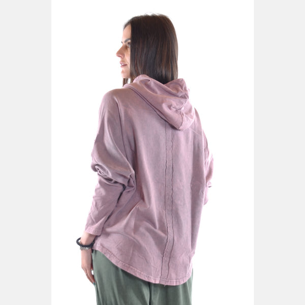 Pink Stone Washed Poncho Cut Cotton Women Hoodie - S-Ponder