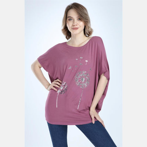 Purple Silver Dandelion Cotton Women Blouse Tee Top T-shirt S-Ponder