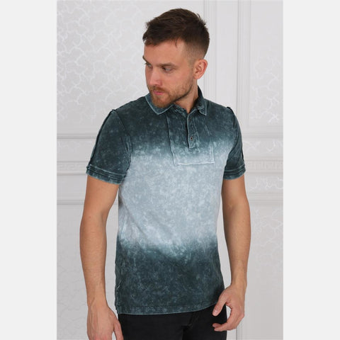 Shaded Green Stone Washed Cotton Men Polo T-Shirt Tee Top S-Ponder