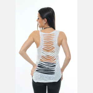 White Back Cut Off Cotton Vest Tank Top