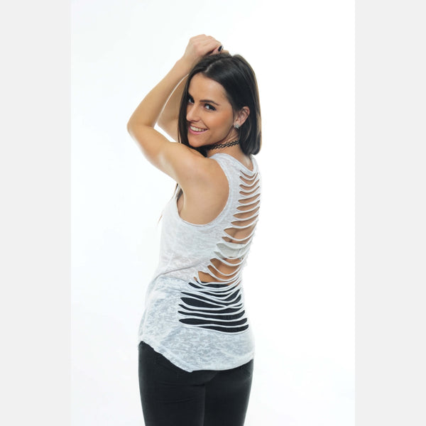 White Back Cut Off Cotton Vest - S-Ponder Shop - VEST