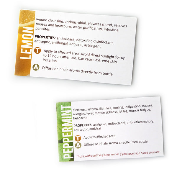 Essential Oil Emergency Kit Usage Cards