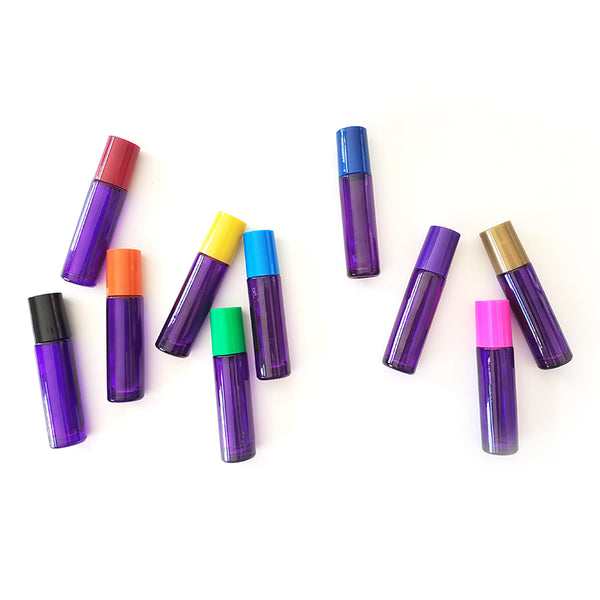 Chakra Color Lids with Purple Rollerball Bottles & Gemstone Rollers (Qty 10)