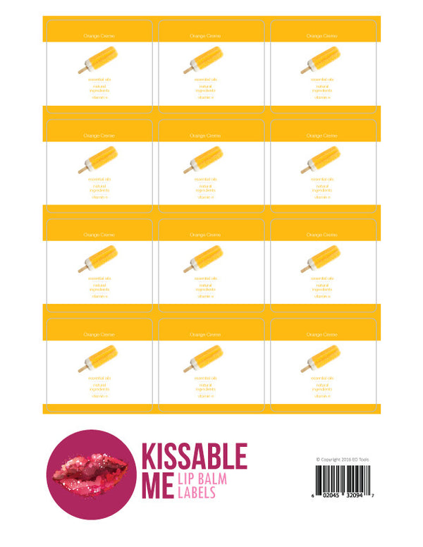 Orange Creme Lip Balm Label Sheet