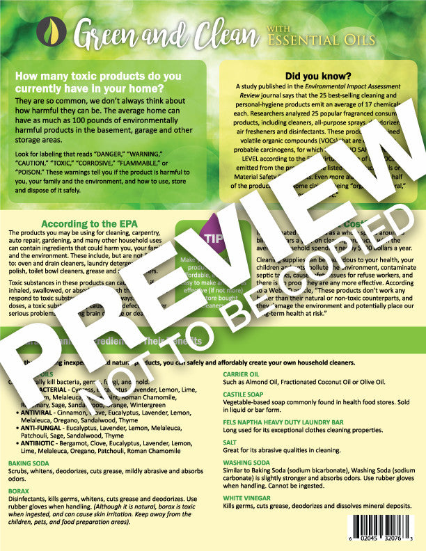 Green and Clean with Essential Oils Recipes Tear Sheet Pad