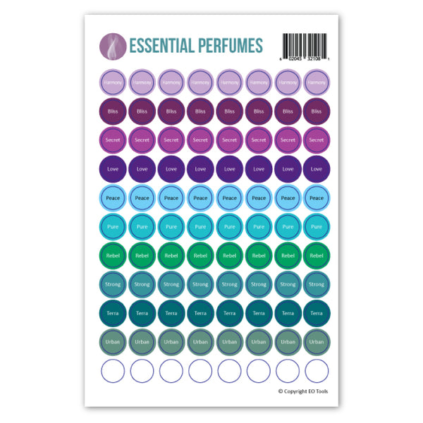 Essential Perfumes Lid Stickers