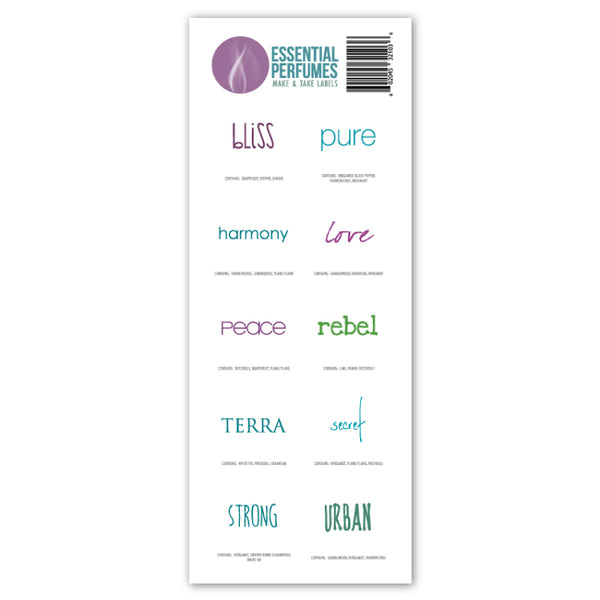 Essential Perfumes Variety Labels