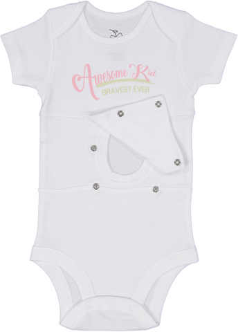 Awesome Kid Pink/Green Feeding Tube Onesie