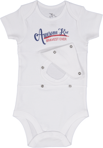 Awesome Kid Blue/Red Feeding Tube Onesie