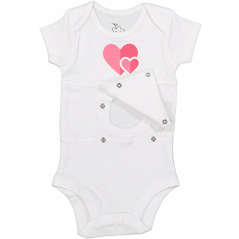 Double Heart Feeding Tube Onesie