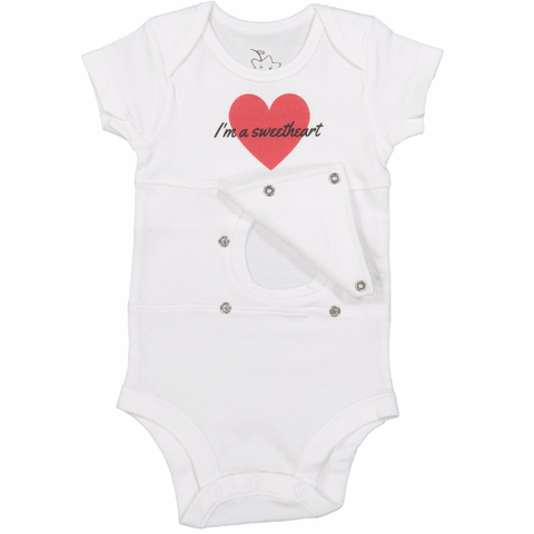 Sweetheart feeding tube onesie