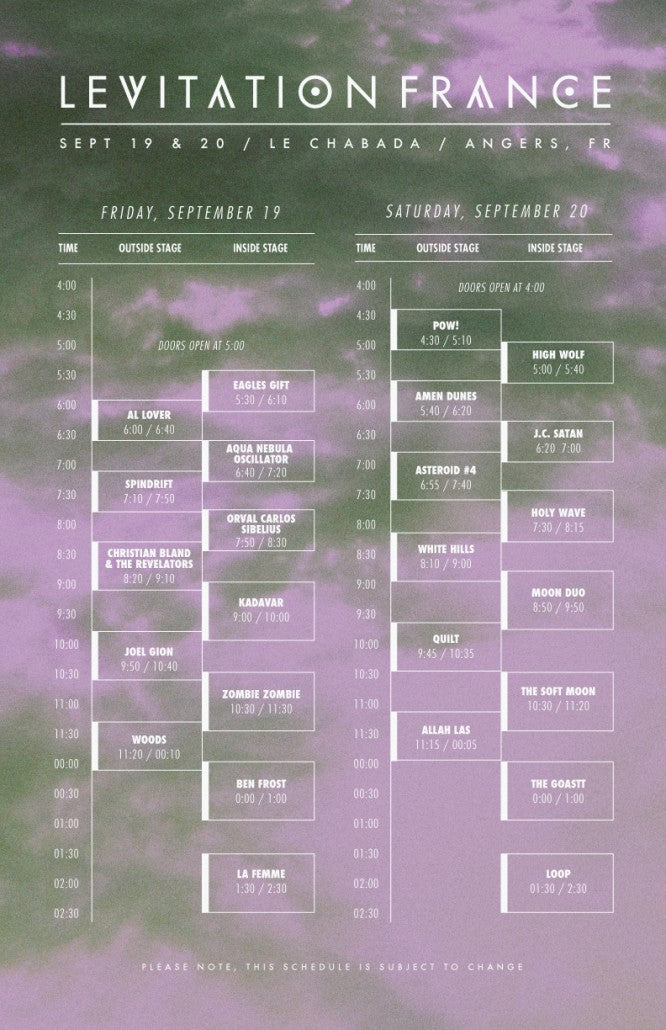 LEVITATION FRANCE set times released!