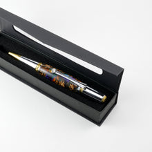 Majestic Squire Ballpoint Pen with Multi-Colored Acrylic - Gold Titanium and Chrome