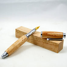 Birdseye Maple Wood Fountain Pen with Chrome Fittings - Whidden's Woodshop
