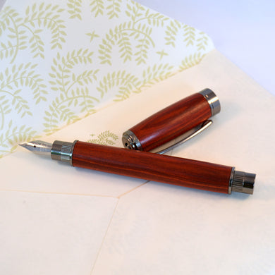 Bloodwood Fountain Pen with Gun Metal Fittings - Whidden's Woodshop