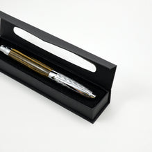 Etched Chrome Fountain Pen - Black & White Ebony