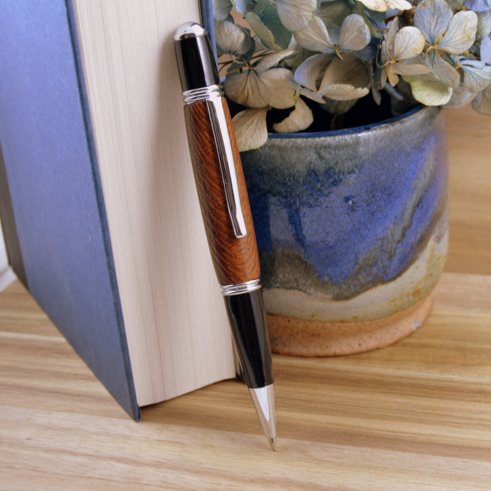 Leopardwood Pen with Chrome Fittings - Whidden's Woodshop