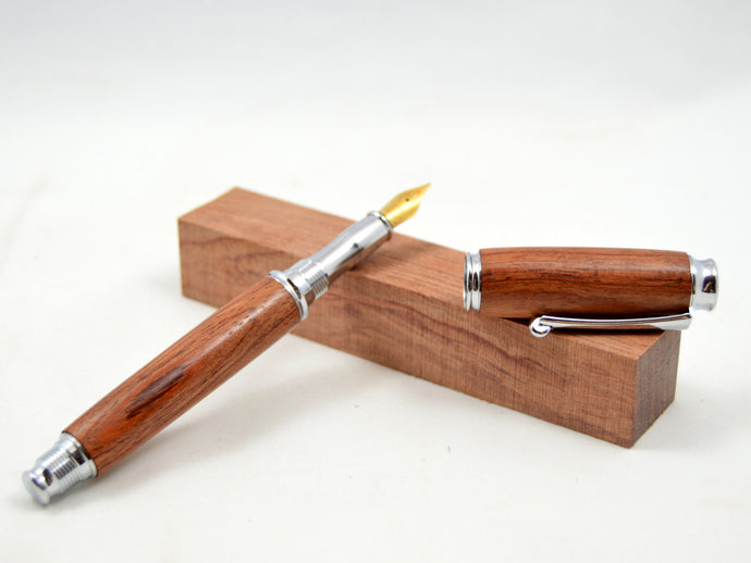Bubinga Wood Fountain Pen with Chrome Fittings - Whidden's Woodshop