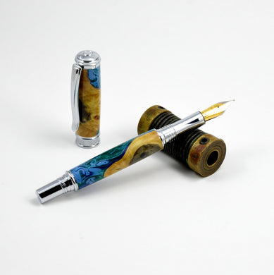 Chrome Fountain Pen - Buckeye Burl & Acrylic Pen - Postable