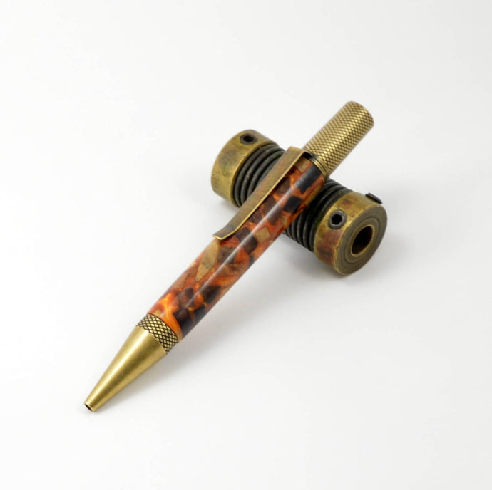 Handcrafted Burl Bits in Orange Acrylic Ballpoint Pen In Antique Brass