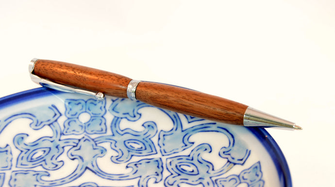 Walnut Pen with Chrome Fittings - Whidden's Woodshop