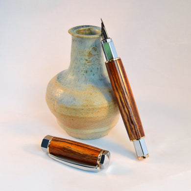 Cocobola Fountain Pen with Gold & Chrome Fittings - Whidden's Woodshop