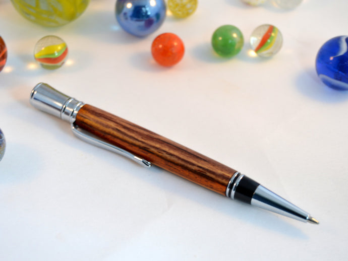 Cocobola Wood Pen with Chrome Fittings - Whidden's Woodshop