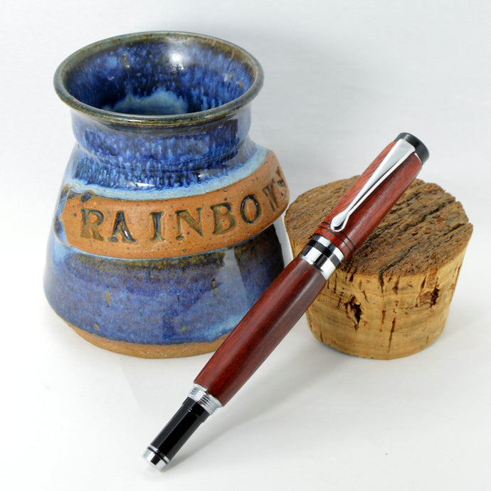 Bloodwood Classic Rollerball Pen with Chrome Fittings - Whidden's Woodshop