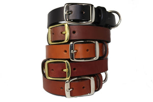 Classic Leather Collar with Slide Tag